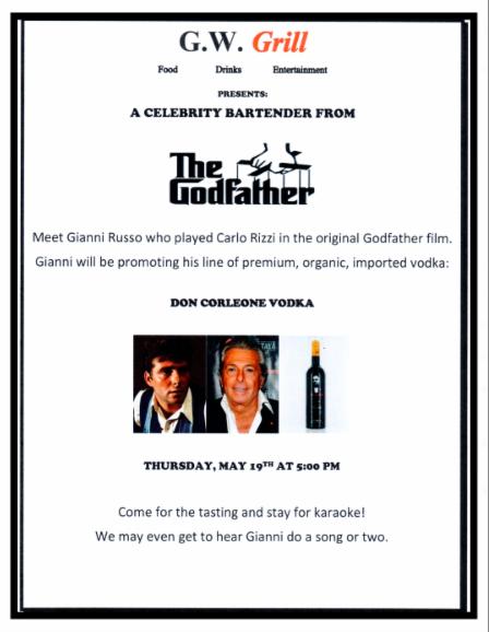 G.W. Grill Gianni Russo Don Corleone Brand Vodka Event